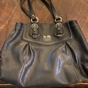Soft black leather Coach Handbag w/ COA
